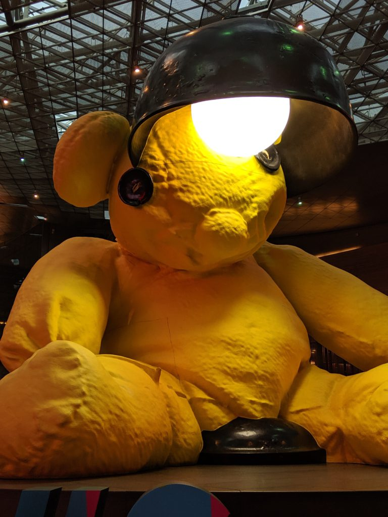 Lamp Bear at Hamad International Airport on the way to our Self Drive Safari